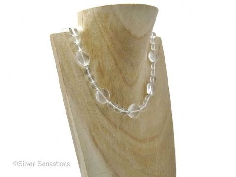Faceted Clear Rock Crystal Quartz Coins Beaded Sterling Silver Necklace